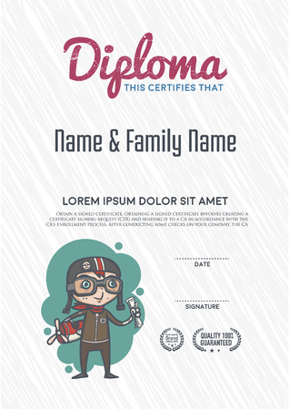 diploma certificate: Diploma template and background design. Illustration