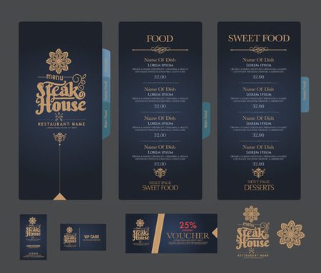 food menu: vector restaurant menu template. Illustration