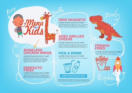 Menü für Kinder Vorlage. Illustration