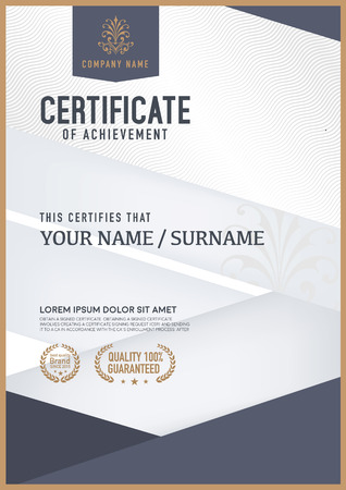 an achievement: Vector certificate template. Illustration