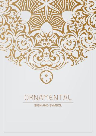 Ornamental element for design, Traditional gold decor. Ornamental vintage frame for wedding invitations and greeting cards. Illustration