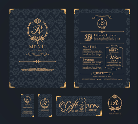 vector restaurant menu template. Çizim