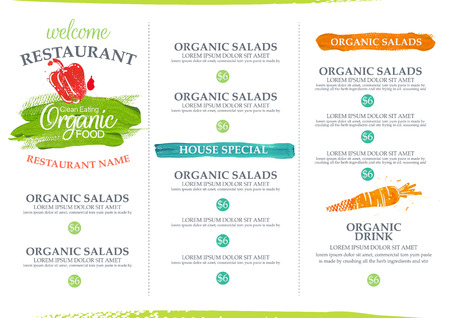 menu: Watercolor organic restaurant menu design.