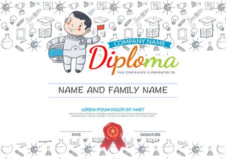 preescolar: Preescolar Primaria niños escolares certificado de Diploma y drenaje de la mano iconos education.Vector hombre del espacio.