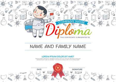 elementary school: Preschool Elementary school Kids Diploma certificate and hand draw icons education.Vector spaceman.