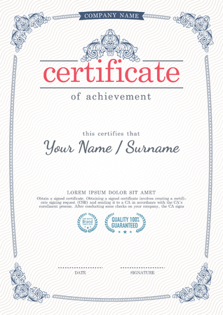 certificate template: Vector vintage style certificate template. Illustration