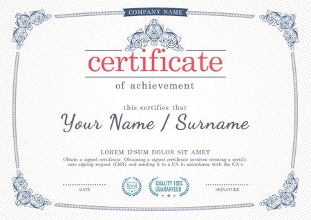 designs: Vector vintage style certificate template. Illustration