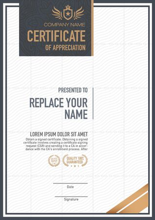 ornate frame: certificate template. luxurious, unique Illustration