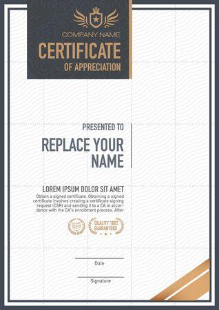 certificate: plantilla de certificado. lujoso, exclusivo Vectores