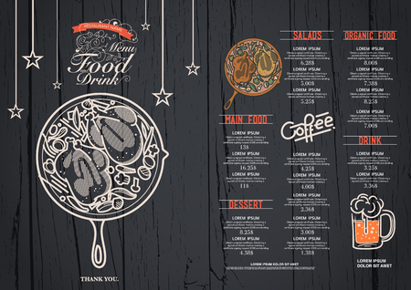 restaurant food: Restaurant cafe menu, wood background and texture template.
