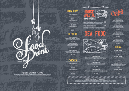 restaurant food: Restaurant cafe menu, brick wall background and texture template. Illustration