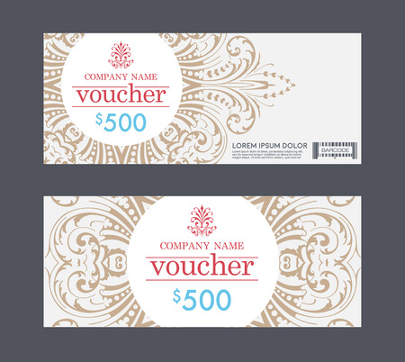 vouchers: vintage voucher, See the priceless gift vouchers that were created on the pattern elegant and graceful delicacy of design, the card is suitable to give as gifts or celebration. Illustration