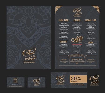 menu de postres: Modelo del menú del restaurante de comida tailandesa.