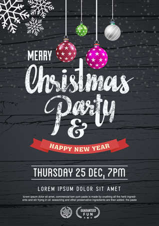 white poster: merry christmas and new year poster template. Illustration
