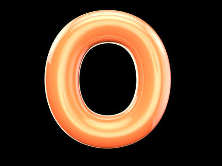 o letters: The English letter o. The program is made up of 3d look as balloons. The form and color, glossy, lovely Stock Photo