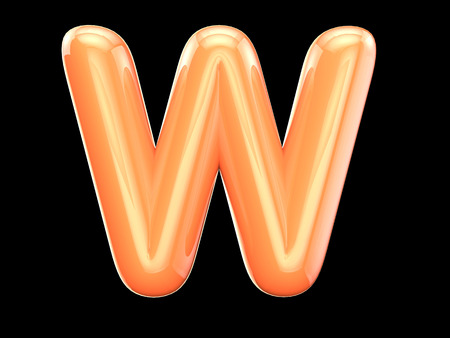 gold letters: The English letter w. The program is made up of 3d look as balloons. The form and color, glossy, lovely
