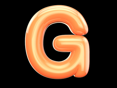 letter g: The English letter g. The program is made up of 3d look as balloons. The form and color, glossy, lovely Stock Photo