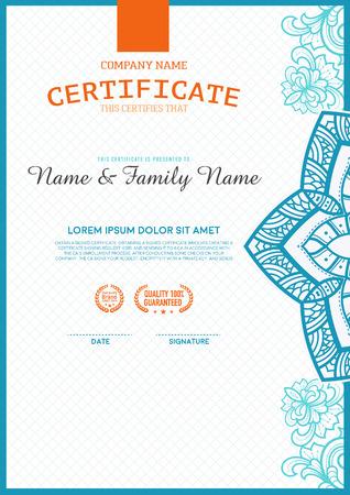 the unique: certificate template. luxurious, unique Illustration