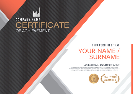 achieve: certificate template. modern,luxurious, unique