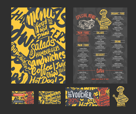 retro party: creative menu template, art background and texture.