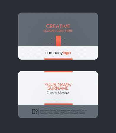 business card layout: modern clean business card template. Flat design Illustration