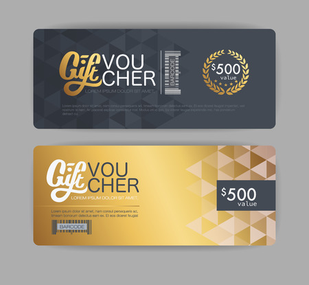 gift voucher template and coupon. gold card and back card. Vectores