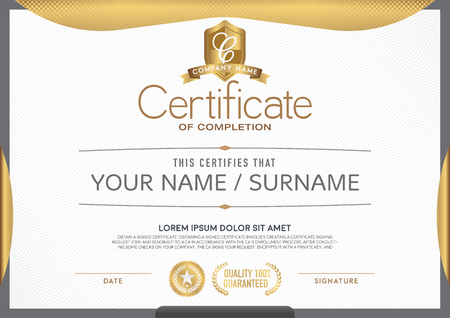 Certificate  clean and modern.