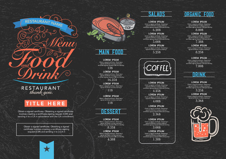chalkboard: Restaurant cafe menu, wood background and texture template.