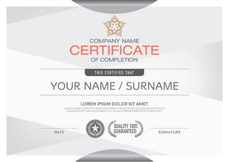 certificado: Certificados de color moderna y limpia y colocaci�n de la muestra en un profesional. Hacer este anuncio Un lugar hermoso y elegante para entregar logros sobresalientes en cada uno de los destinatarios.