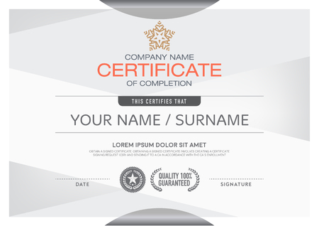Certificates modern and clean color and placement of the sample into a professional. Making this announcement A beautiful and elegant place to deliver outstanding achievement in each of the recipients. 矢量图像