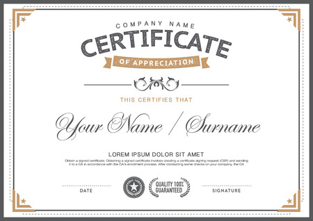 vintage certificate  template. smart,clean,hipster Vettoriali