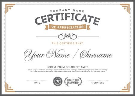 certificado: plantilla de certificado de la vendimia. elegante, limpio, inconformista Vectores