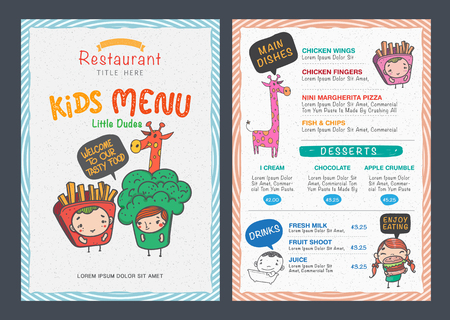 dinner: Cute  kids menu vector template Illustration