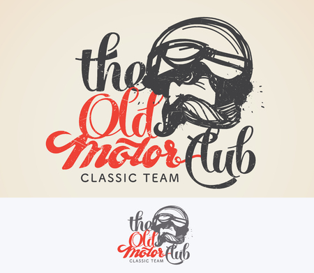 old vintage: The Old motor club  and symbol. Designed using the hand-drawn line. Illustration