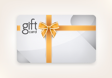 gift card: Vector gift card of decorated and golld ribbons.