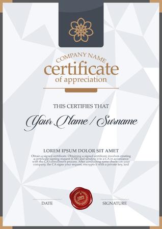 certificate: plantilla de certificado vector. Vectores