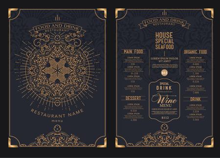 食物: 高級餐廳咖啡館的菜單,模板設計。 向量圖像