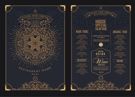 Premium-Restaurant-Café-Menü, Template-Design. Illustration