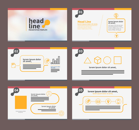 プレゼンテーション テンプレートのフラット デザイン パンフレット チラシ マーケティングと広告とアイコンの設定