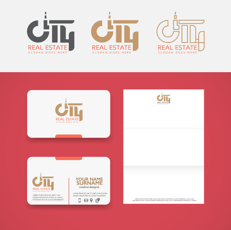 City real estate and  business template set. Illustration