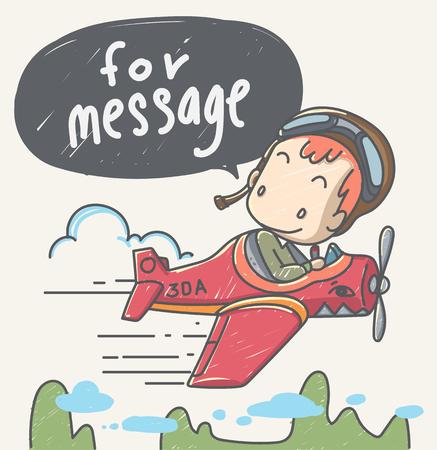 pilotos aviadores: dibujados a mano de dibujos animados estilo. El joven piloto personajes de dibujos animados lindo y único en su diseño ideal para hacer ilustraciones