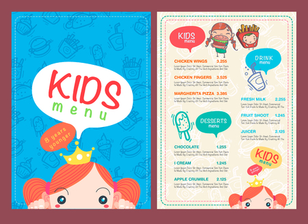 people eating restaurant: vector kids menu template and hand draw symbol and icon. Illustration