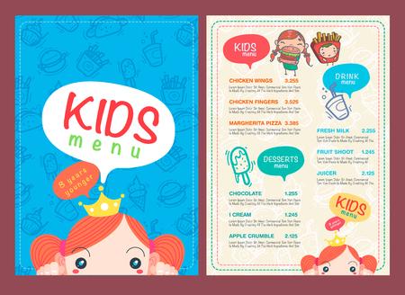 ristorante: vettore bambini modelli di menu e simboli disegnare a mano e l'icona.