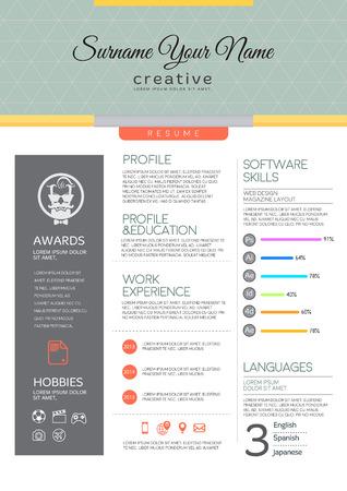 Vector resume template. CV, Brochure layout,magazine Illustration