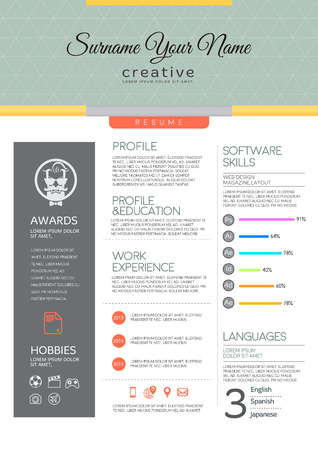 profile: Vector resume template. CV, Brochure layout,magazine Illustration