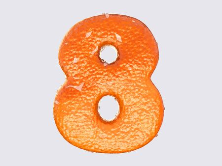 condensation: The English letter is designed to resemble an orange peel and peel fruit. Condensation on the letter. Cheerful
