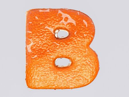 orange fruit: The English letter is designed to resemble an orange peel and peel fruit. Condensation on the letter. Cheerful