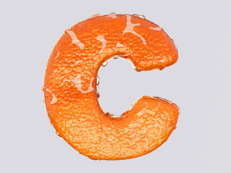 vitamin c: The English letter is designed to resemble an orange peel and peel fruit. Condensation on the letter. Cheerful