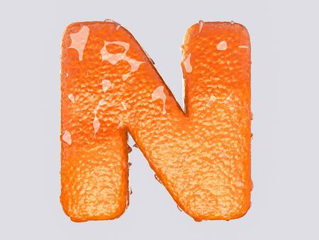 peel: The English letter is designed to resemble an orange peel and peel fruit. Condensation on the letter. Cheerful