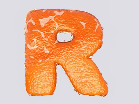 alphabet letter: The English letter is designed to resemble an orange peel and peel fruit. Condensation on the letter. Cheerful